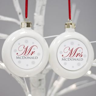 Mr & Mrs Twin Set Of Personalised Christmas Baubles Product Image