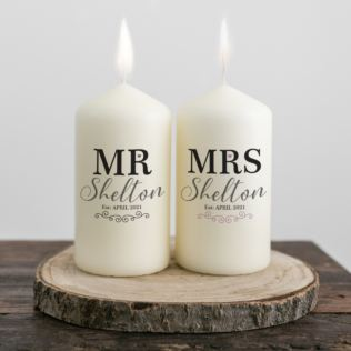 Personalised Mr & Mrs Pair Of Candles Product Image
