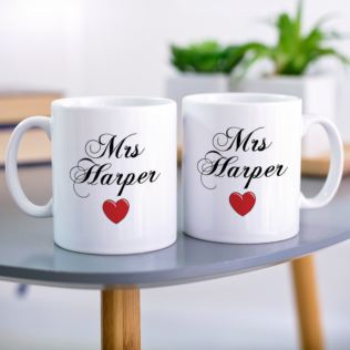 Pair of Mrs and Mrs Personalised Mugs Product Image
