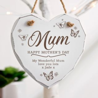 Personalised Mother's Day Wooden Hanging Heart - Butterflies Product Image