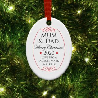 Personalised Mum & Dad Oval Hanging Christmas Ornament Product Image