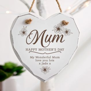 Personalised Mother's Day Wooden Hanging Heart - Flowers Product Image