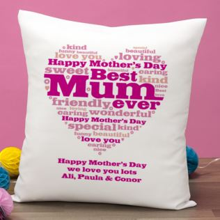 Mother's Day Heart of Words Personalised Cushion Product Image