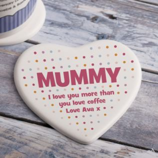 Personalised Mummy Polka Dot Ceramic Heart Coaster Product Image