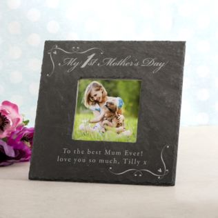 Personalised My 1st Mother's Day Square Slate Photo Frame Product Image