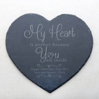Personalised My Heart Is Perfect Slate Heart Placemat Product Image