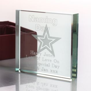 Personalised Naming Day Glass Keepsake Product Image