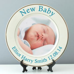 Personalised New Baby Photo Plate - Pink or Blue Product Image