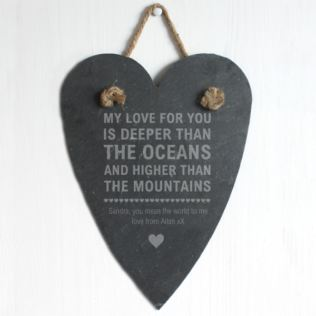 Personalised Oceans and Mountains Slate Hanging Heart Product Image