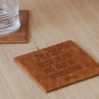 Personalised Favourite Lyric Leather Coaster Product Image
