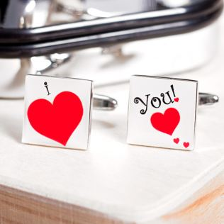 I Love You Personalised Cufflinks Product Image