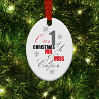 Personalised Our First Christmas Oval Hanging Ornament Product Image