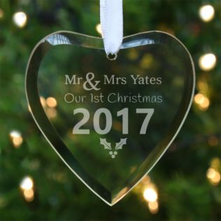 Personalised Our First Christmas Glass Heart Product Image