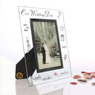 Our Wedding Day Glass Frame Product Image