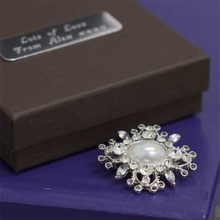 Crystal and Glass Pearl Set Oval Brooch in Personalised Gift Box Product Image