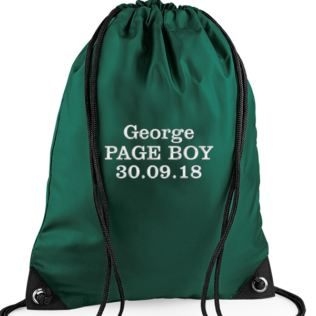 Personalised Embroidered Green Page Boy Drawstring Bag Product Image