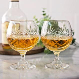 Engraved Pair Of Cut Crystal Brandy Glasses Product Image