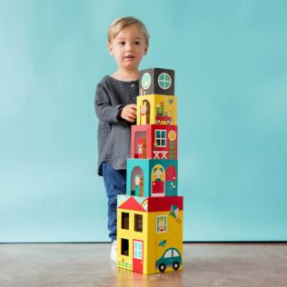 Petit Collage - Peek-A-Boo House Stacking Blocks Play Set Product Image
