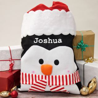 Personalised Luxury Penguin Santa Sack Product Image