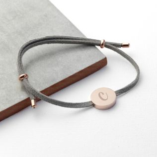 Personalised Always With You Bracelet Grey Rose Gold Tag Product Image