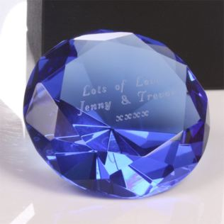 Engraved Blue Diamond Shaped Paperweight Product Image