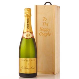 Personalised Champagne in Personalised Wooden Gift Box Product Image