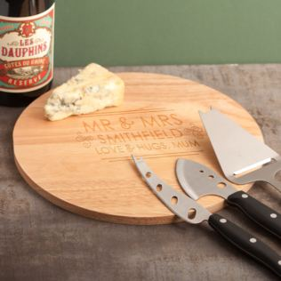 Personalised Mr & Mrs Cheese Board and Accessories Set Product Image