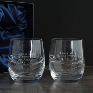 Pair of Personalised Swarovski Crystal and Diamante Whisky Glasses Product Image