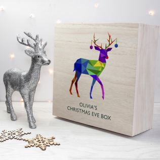 Personalised Geometric Reindeer Christmas Eve Box Product Image