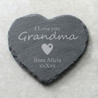 I Love You Grandma Personalised Heart Shaped Slate Coaster Product Image