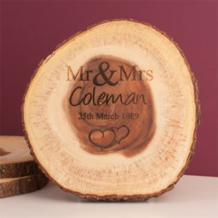 Personalised Mr & Mrs Tree Slice Product Image