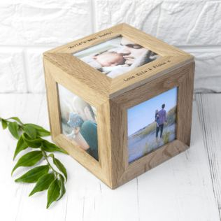 Personalised Oak Photo Cube Keepsake Box Product Image