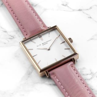 Personalised Pink Blush Square Leather Watch Product Image