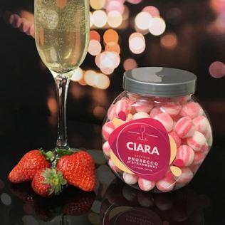 Personalised Prosecco & Strawberry Sweet Jar Product Image