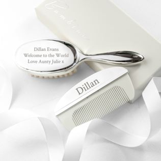 Personalised Silver Plated Brush & Comb Set Product Image