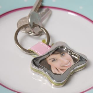 Personalised Pink Curved Picture Keyring Product Image