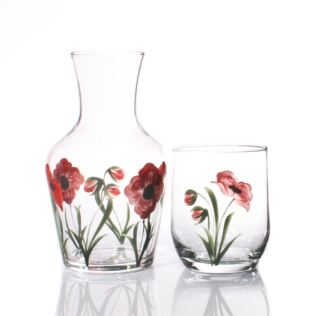 Hand Painted Carafe Set - Poppy Product Image