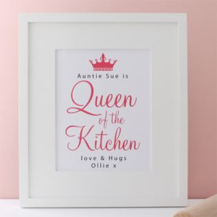 Personalised Queen of the Kitchen Framed Print Product Image