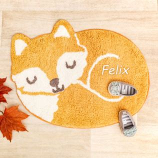 Embroidered Personalised Woodland Fox Rug Product Image