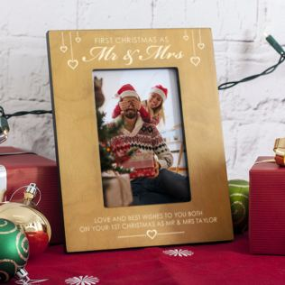 Personalised First Christmas As Mr & Mrs 6x4 Photo Frame Product Image