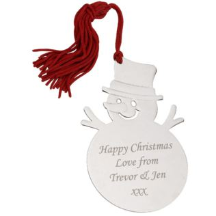 Engraved Snowman Tree Decoration Product Image