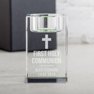 Personalised First Holy Communion Optical Crystal Tea Light Holder Product Image