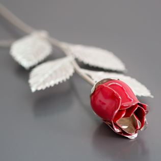 Personalised Silver Plated Rose With Red Bud Product Image