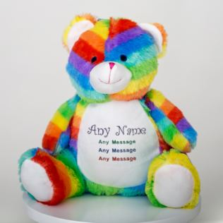 Personalised Embroidered Rainbow Bear Soft Toy Product Image