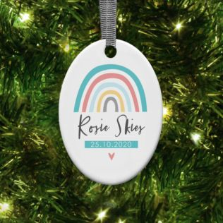Personalised Rainbow Oval Hanging Ornament Product Image