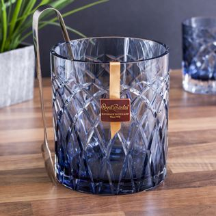 Royal Brierley Luxury Cut Crystal Harris Ink Blue Ice Bucket Product Image