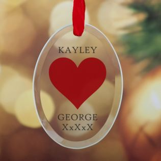 Personalised Heart Design Oval Hanging Glass Ornament Product Image