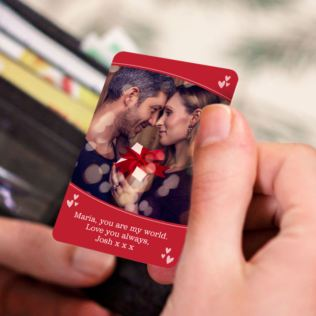 Personalised Valentine's Day Metal Wallet Photo Card Product Image