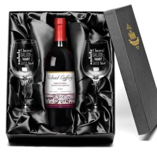 Personalised Red Wine and Glasses Gift Set Product Image