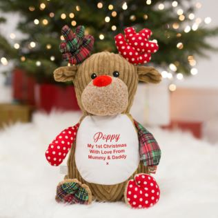 Embroidered My 1st Christmas Reindeer Soft Toy Product Image